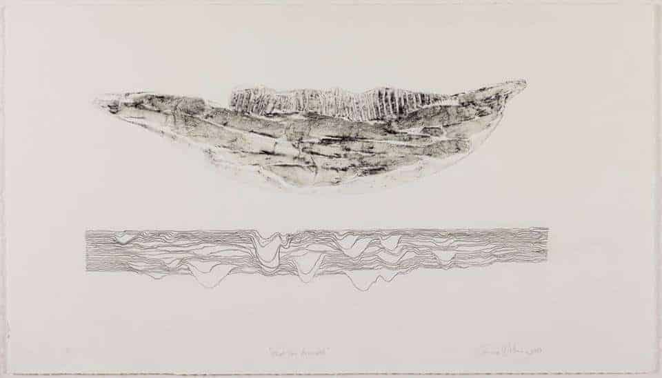 Emma Willemse What lies beneath (2017) 40 x 70 cm Collagraph and charcoal Pitt on Fabriano Rosapina 285 gsm