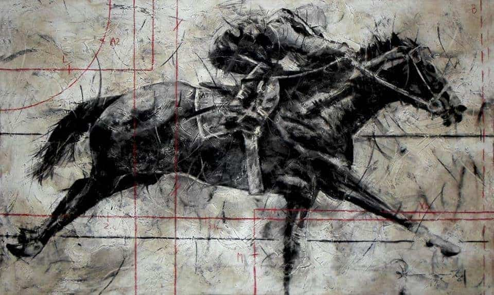 Riaan van Zyl Race in Motion old car oil, anthracite and charcoal on canvas