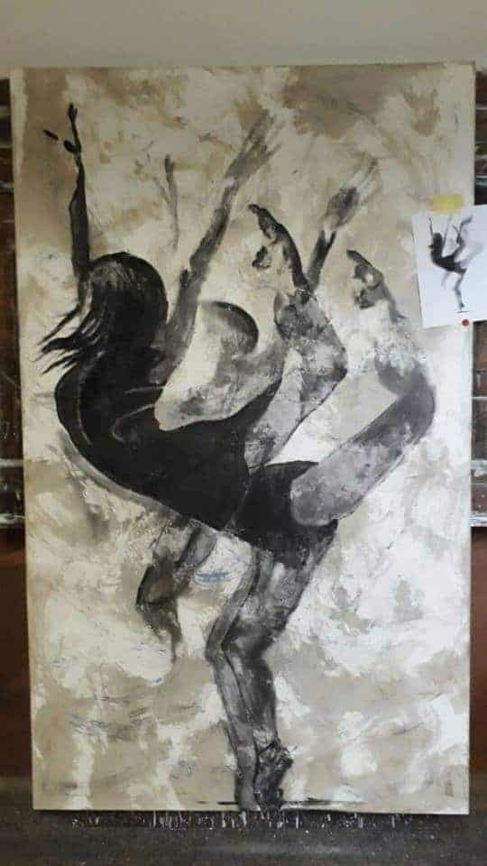 Riaan van Zyl The Unfinished Ballerina old car oil, anthracite and charcoal on canvas