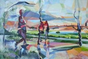 Tamlin Blake : We live here still 2018. Oil on canvas 40 x 60 cm