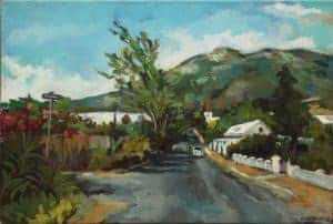 Louisa Gerryts : Corner Hoof and Heuwel Street Riebeek Kasteel 2018. Acrylic on canvas. 40 x 60 cm