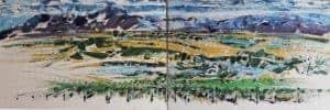 Ivan Kirstein : 1&2 Allesvervloeë 2017. Acrylic on canvas 80 x 120 cm