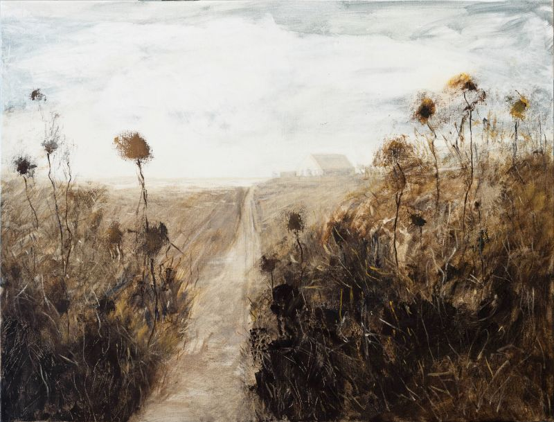 Dusty road home 2018. Oil on Belgian linen. 80x105cm
