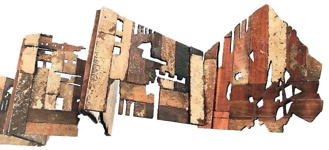 Ruin (detail) 2018. Artists book discarded parquet floor blocks. 20x(variable)cm