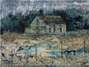 André van Vuuren : On the Swartdam road 2018. Oil on canvas 40 x 60 cm