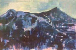 Greta MacMahon : Magic mountain 1 2018. Mixed media on canvas. 40 x 60 cm