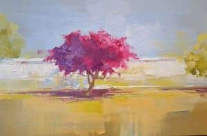 Solly Smook : Dutch Reformed Bougainvilla 2018. Oil on canvas 40 x 60 cm
