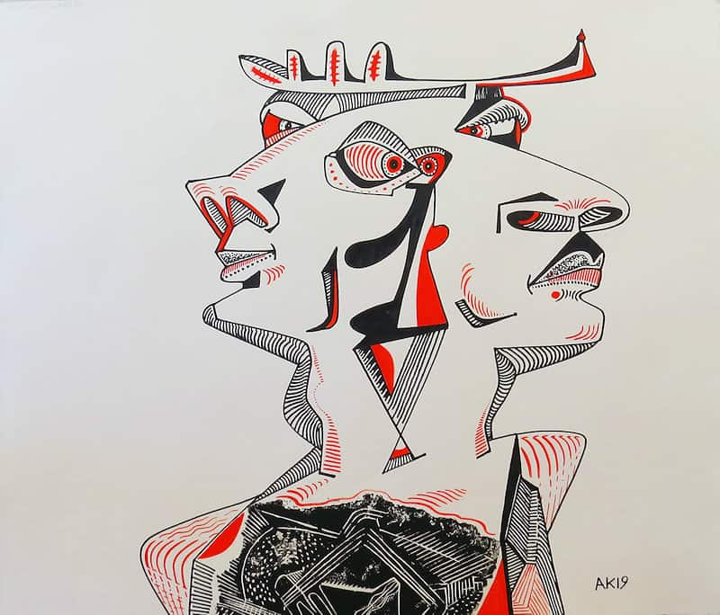 Antelope People, 2019. Woodblock Print and Mixed Media on Cream Fabriano. 70 x 60 cm