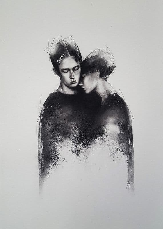 Solly Smook Solace charcoal on Fabriano 100 x 70 cm